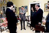 United States President Ronald Reagan joins Judge Robert H. Bork, his nominee to be Associate Justice of the U.S. Supreme Court replacing Louis Powell, and his family following the President's meeting with Judge Bork in the Residence of the White House in the afternoon of Friday, October 9, 1987.  Talking with the President are: (from left) Robert H. Bork, Jr.; Mrs. Mary Ellen Bork; President Reagan; Ellen E. Bork; Judge Bork; and Charles E. Bork..Mandatory Credit: Pete Souza - White House via CNP