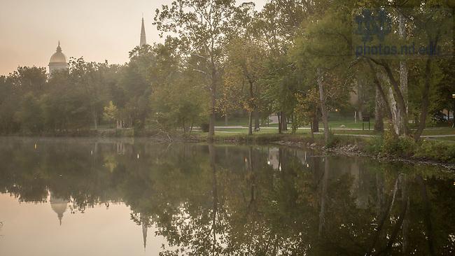 Oct. 7, 2015; Misty morning on St. Mary's Lake. (Photo by Matt Cashore/University of Notre Dame)