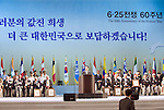 South Korean President Lee Myung-Bak makes a speech during the official commemoration ceremony to mark the 60th anniversary  of the start of the Korean War in Seoul, South Korea on 25 June 2010..Photographer: Rob Gilhooly