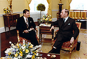 United States President Ronald Reagan meets with Joseph M.A.H. Luns, Secretary General of the North Atlantic Treaty Organization (NATO) in the Yellow Oval Room of the White House in Washington, D.C. on Thursday, April 16, 1981..Mandatory Credit: Michael Evans - White House via CNP