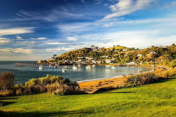 Moeraki, beach and bay, South Island, New Zealand - stock photo, canvas, fine art print