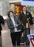 United States Senator Lisa Miurkowski (R) Alaska, smiles at supporters upon her arrival at Ted Stevens International Airport in Anchorage Wednesday, Nov. 17, 2010.  Murkowski is expected to claim victory in her race against Republican Joe Miller.  (AP Photo/Michael Dinneen)