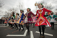 Multicultural students from the Keltic Dreams dance company of PS 59 in the Bronx perform their Irish Step Dancing routines at the Sunnyside, Queens St. Patrick's Day Parade on March 4, 2012. Started as an alternative to the New York parade, the organizers have endeavored to make the parade inclusive allowing gays and lesbians to march who were banned from the New York parade. (© Richard B. Levine)