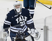 Jeff Malcolm (Yale - 33) - The Boston College Eagles tied the visiting Yale University Bulldogs 3-3 on Friday, January 4, 2013, at Kelley Rink in Conte Forum in Chestnut Hill, Massachusetts.