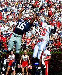 Ole Miss wide receiver Markeith Summers (16) makes a touchdown catch as Jacksonville State defensive back T.J. Heath (15)  defends at Vaught-Hemingway Stadium in Oxford, Miss. on Saturday, September 4, 2010. (AP Photo/Oxford Eagle, Bruce Newman)