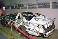 Phil Parsons damaged race car on display at the Talladega racing museum after a crash in the Winston 500 at Alabama International Motor Speedway in Talladega, AL on May 1, 1983.  (Photo by Brian Cleary/www.bcpix.com)