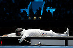 Mcc0041438 . Daily Telegraph..DT Sport..2012 Olympics..Learn to Love..Jinsun Jung won Bronze after defeating in the Mens Epee Finals after defeating USA's Seth Kelsey at the ExCel centre. ..1 August 2012...