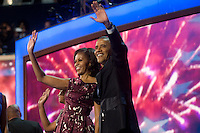 CHARLOTTE, NC - September 6, 2012 - Barack Obama and Michelle Obama after the President's speech at the 2012 Democratic National Convention.