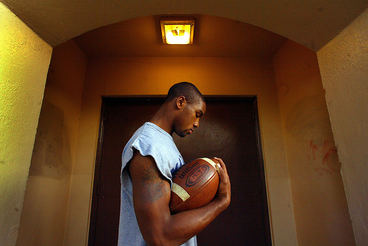 Marshall High football player James Wilson on campus in L.A. He was once homeless, living out of a car and he now lives in a group home...
