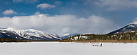 recreational dog mushing along the Koyukuk river in the Brooks range, arctic, Alaska.