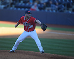 Ole Miss' Brett Huber (38) pitches vs. Rhode Island at Oxford-University Stadium in Oxford, Miss. on Sunday, February 24, 2013. Ole Miss won 5-3 to improve to 7-0.