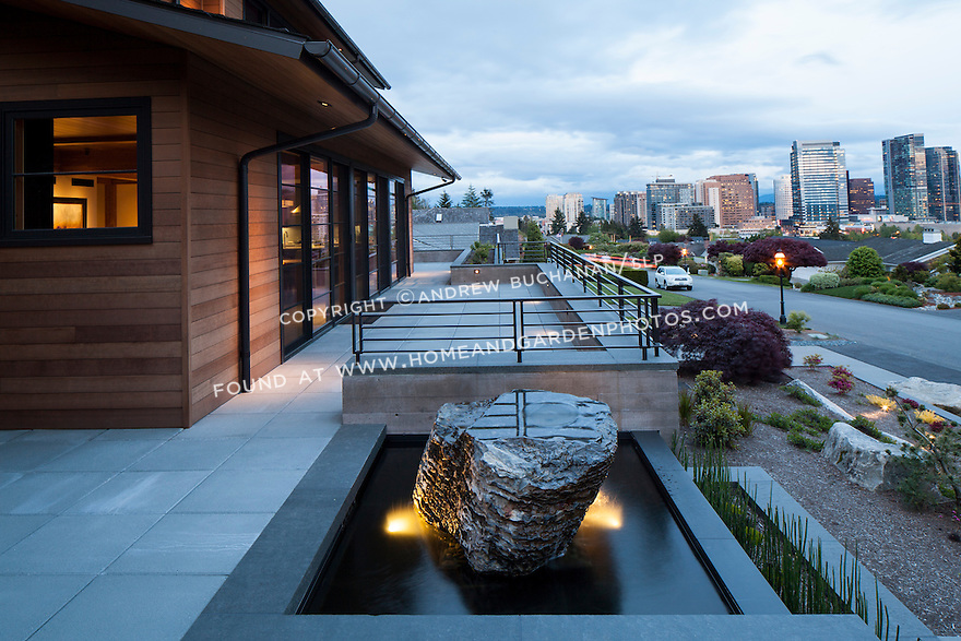 A unique water feature and view of the Bellevue skyline