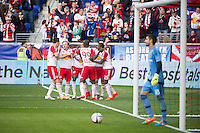 HARRISON, NJ - Sunday April 26, 2015: The Red Bulls celebrate Felipe Martins' goal in the second half.  The New York Red Bulls tie the Los Angeles Galaxy 1-1 at home at Red Bull Arena in regular season MLS play.