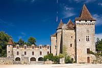 Chateau de la Marthonie, XV, XVI, XVII Century architecture in historic town of St Jean de Cole, France