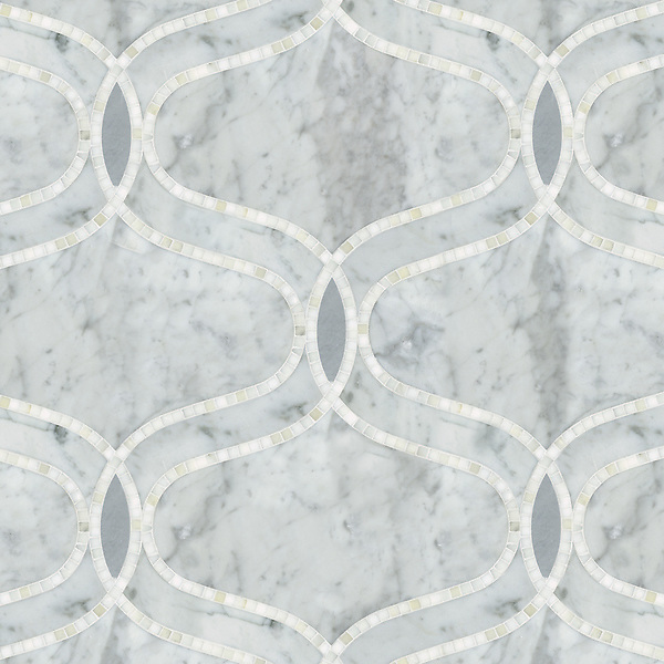 Ursula, a natural stone waterjet and hand cut mosaic shown in Carrara,  honed Bardiglio and polished Calacatta Tia, is part of the Silk Road Collection by Sara Baldwin for New Ravenna Mosaics. <br />