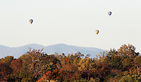 Hot air balloons rise over Charlottesville, VA.  Photo/Andrew Shurtleff