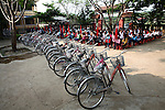 "Bicycles are lined up at a school in the rural highlands district of A Luoi, Vietnam. War veteran Mark Oconnor bought the bicycles for poor students in the mostly ethnic minority district so they can get to school easier. ""I took too much the first time I was over here, and now I am trying to give back,"" said Oconnor, 63, of Sioux Falls, S.D., who served in the war from 1970 to 1971. ""It probably won't ever be enough, but I want to do what I can."" April 21, 2014."