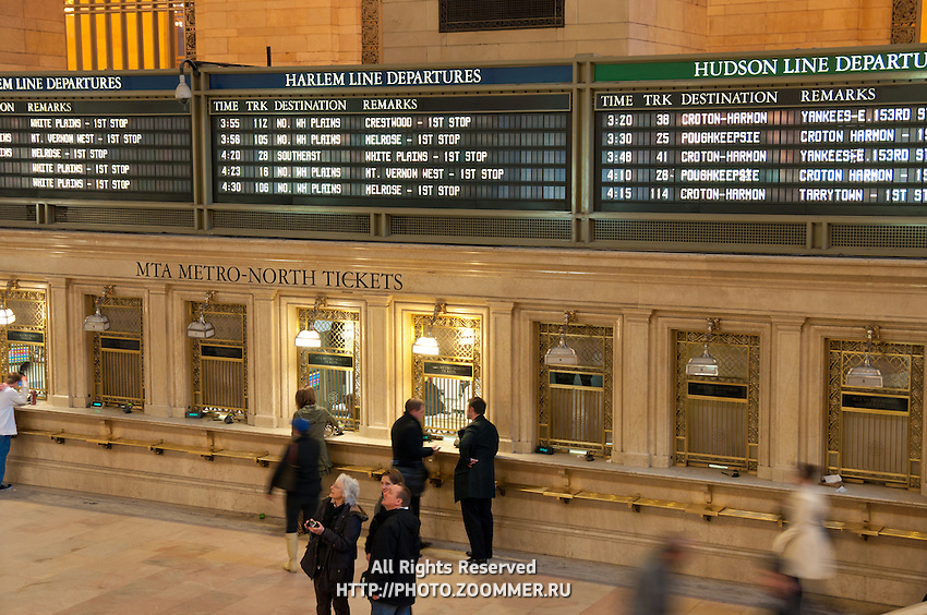 Timetable panels for trains in Grand Central terminal in Manhattan, New York City