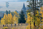 NEWS&amp;GUIDE PHOTO / BRADLY J. BONER.Jackson Hole Mountain Duathlon competitors begin their 5k run on Saturday morning at Jackson Hole Mountain Resort. About 30 racers participated in this year's event.