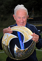 Auckland City property steward Arthur Egan with the trophy after the Oceania Football Championship final (second leg) football match between Team Wellington and Auckland City FC at David Farrington Park in Wellington, New Zealand on Sunday, 7 May 2017. Photo: Dave Lintott / lintottphoto.co.nz