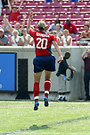 6 June 2004: Abby Wambach jumps for joy after her 59th minute goal tied the game 1-1. The United States tied Japan 1-1 at Papa John's Cardinal Stadium in Louisville, KY in an international friendly soccer game..