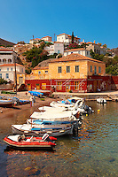 The harbour of the small fishing village of Kaminia, Hydra,  Greek Saronic Islands