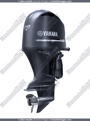 Yamaha F350 outboard boat motor four stroke V8 engine F350 5.3L isolated on white background with clipping path