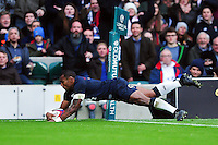 Semesa Rokoduguni of England dives for the try-line. Old Mutual Wealth Series International match between England and Fiji on November 19, 2016 at Twickenham Stadium in London, England. Photo by: Patrick Khachfe / Onside Images