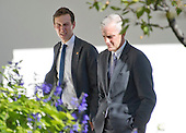 Jared Kushner and White House Chief of Staff Denis McDonough walk through the Rose Garden as they discuss the Presidential Transition as United States President Barack Obama meets US President -elect Donald Trump in the Oval Office of the White House in Washington, DC on November 10, 2016.<br /> Credit: Ron Sachs / CNP<br /> (RESTRICTION: NO New York or New Jersey Newspapers or newspapers within a 75 mile radius of New York City)