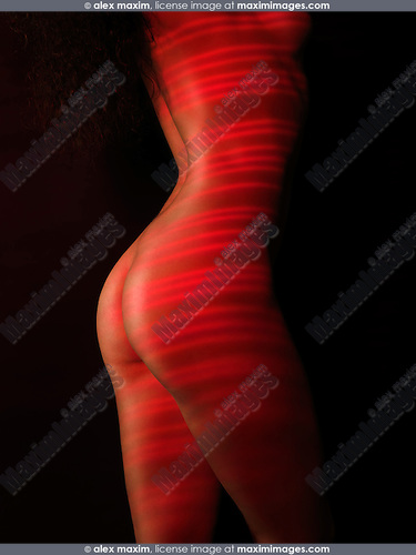 Nude woman body with red laser stripes on skin, isolated on black background, Skin rejuvenation treatment concept.