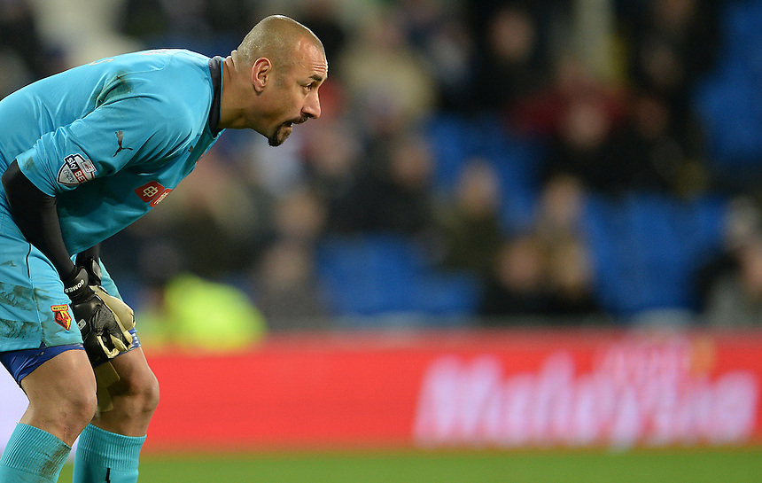 Watford's Heurelho Gomes in action during todays match  <br /> <br /> Photographer Ian Cook/CameraSport<br /> <br /> Football - The Football League Sky Bet Championship - Cardiff City v Watford - Saturday 28th December - Cardiff City Stadium - Cardiff<br /> <br /> &copy; CameraSport - 43 Linden Ave. Countesthorpe. Leicester. England. LE8 5PG - Tel: +44 (0) 116 277 4147 - admin@camerasport.com - www.camerasport.com