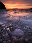 Colorful atmospheric sunset scenery of Georgian Bay rocky shore. Bruce Peninsula National Park, Ontario, Canada.