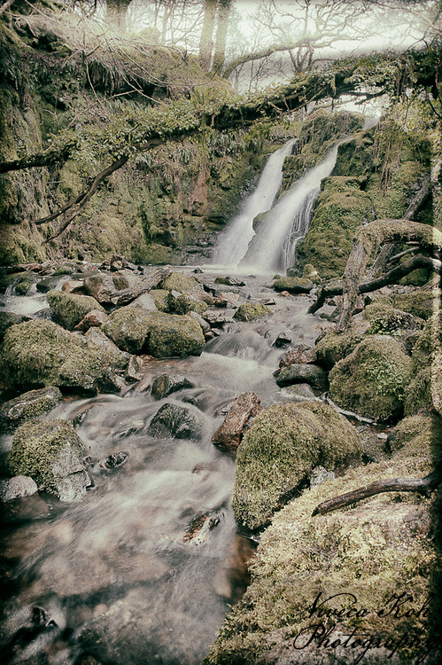 Waterfall on Dartmoor, Devon, processed to emulate wet plate technique.
