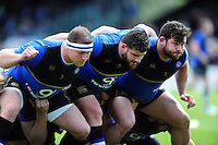 The Bath Rugby front row of David Wilson, Rob Webber and Nathan Catt practise their scrummaging during the pre-match warm-up. Aviva Premiership match, between Bath Rugby and Sale Sharks on April 23, 2016 at the Recreation Ground in Bath, England. Photo by: Patrick Khachfe / Onside Images