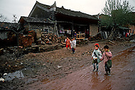 April 15th, 1989, Poyang, Jiangxi Province, China: daily life, street scenes with children.