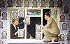 A Level Playing Field <br /> by Jonathan Lewis <br /> at the Jermyn Street Theatre<br /> London, Great Britain <br /> 13th April 2015 <br /> Press photocell <br /> <br /> <br /> Jojo Macari <br /> Joe Layton  (Mr Preston)<br /> <br /> photograph by Elliott Franks
