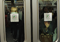 Passengers squashed against the glass on a train during rush-hour in Shinjuku Station, Tokyo, Japan.With up to 4 million passengers passing through it every day, Shinjuku station, Tokyo, Japan, is the busiest train station in the world. The station was used by an average of 3.64 million people per day.  That&rsquo;s 1.3 billion a year.  Or a fifth of humanity. Shinjuku has 36 platforms, and connects 12 different subway and railway lines.  Morning rush hour is pandemonium with all trains 200% full. <br /> <br /> Photo by Richard jones / sinopix