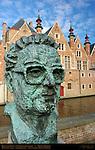 Frank van Acker Bust, Steenhouwersdijk at Vismarkt Old Fish Market, Bruges, Brugge, Belgium