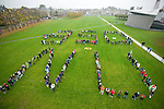 350 Aerial Photograph in Amsterdam, October 24, 2009, Museumplein. Hundreds of people form a '350 NU' to demand world leaders commit to a 350 ppm target in Copenhagen. This action was part of over 4600 actions across the globe on October 24, 2009, all calling for a target of 350ppm.