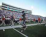Ole Miss running back Brandon Bolden (34) walks off the field following a loss at Vaught-Hemingway Stadium in Oxford, Miss. on Saturday, September 4, 2010. Jacksonville State won 49-48 in double overtime.