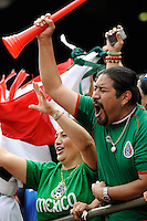 Mexico (MEX) fans celebrate a goal. Mexico (MEX) defeated the United States (USA) 5-0 during the finals of the CONCACAF Gold Cup at Giants Stadium in East Rutherford, NJ, on July 26, 2009.
