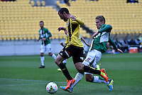 Emmanuel Muscat in action during the A League - Wellington Phoenix v Newcastle Jets Game at Westpac Stadium, Wellington, New Zealand on Sunday 26 October 2014. <br /> Photo by Masanori Udagawa. <br /> www.photowellington.photoshelter.com.