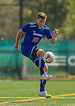 5 September 2014: University of Massachusetts River Hawks Midfielder Dalton Richards, a Junior from North Grafton, MA, in action against the St. Francis College Terriers at Virtue Field in Burlington, Vermont. The River Hawks defeated the Terriers 3-1, on their way to finishing the Morgan Stanley Smith Barney Windjammer Classic Men's Soccer Tournament with a 2-0 record, and being crowned as tournament champions on goal differential. Mandatory Credit: Ed Wolfstein Photo *** RAW (NEF) Image File Available ***