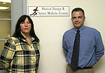 WATERTOWN, CT-- 12 January 2005   011205DA03.JPG -- Physical Therapy Sports and Medicine Centers. L-R, Karen Bronson ( Physical Therapy Aide), and Joe Caligiuri PT (Director). For Marketplace.Staff photo. Darlene Douty.
