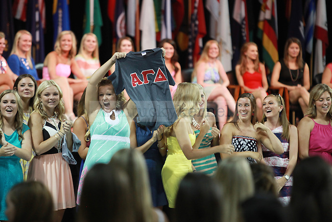 Gamma Chi leaders at sorority bid day in Lexington, Ky., on Monday August 22nd, 2013. Photo by Emily Wuetcher | Staff