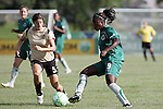 26 July 2009: Eniola Aluko (9) of Saint Louis Athletica pushes the ball past Tina DiMartino (5) of FC Gold Pride.  Saint Louis Athletica tied the visiting FC Gold Pride 1-1 in a regular season Women's Professional Soccer game at Anheuser-Busch Soccer Park, in Fenton, MO.