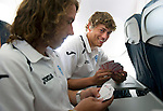 St Johnstone v Eskisehirspor....18.07.12  Uefa Cup Qualifyer.Murray Davidson playing cards on the plane with Stevie May.Picture by Graeme Hart..Copyright Perthshire Picture Agency.Tel: 01738 623350  Mobile: 07990 594431