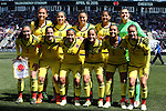 10 April 2016: Colombia's starters. Front row (from left): Natalia Gaitan (COL), Diana Ospina (COL), Leicy Santos (COL), Carolina Arbelaez (COL), Liana Salazar (COL), Tatiana Ariza (COL). Back row (from left): Isabella Echeverri (COL), Orianica Velasquez (COL), Nataly Arias (COL), Catalina Usme (COL), and Catalina Perez (COL). The United States Women's National Team played the Colombia Women's National Team at Talen Energy Stadium in Chester, Pennsylvania in an women's international friendly soccer game. The U.S. won the match 3-0.