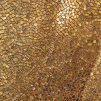 Cosmique, a hand-cut glass mosaic, shown in 24K Gold Glass,  is part of the Aurora™ Collection by Sara Baldwin for New Ravenna.