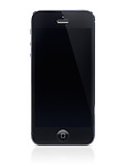 Apple iPhone 5 black with blank screen isolated on white background with clipping path
